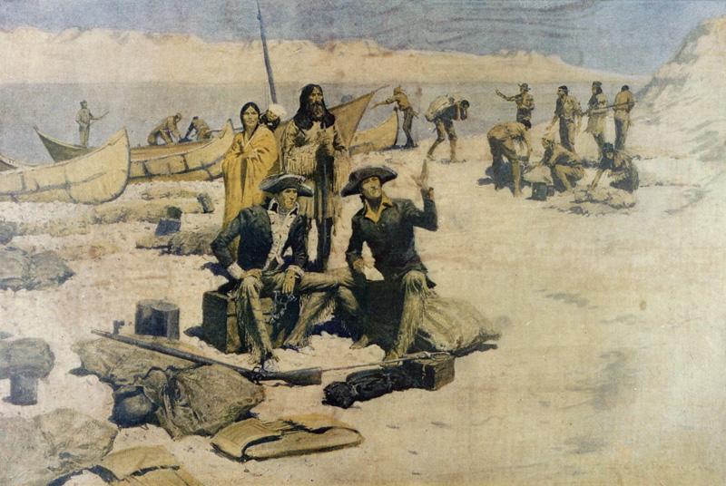Frederic Remington, Lewis y Clark en el río Columbia, publicado en Collier's Weekly, 12 de mayo de 1906]