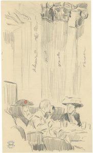 Dibujos en los reversos de los menús del hotel Savoy, 1911