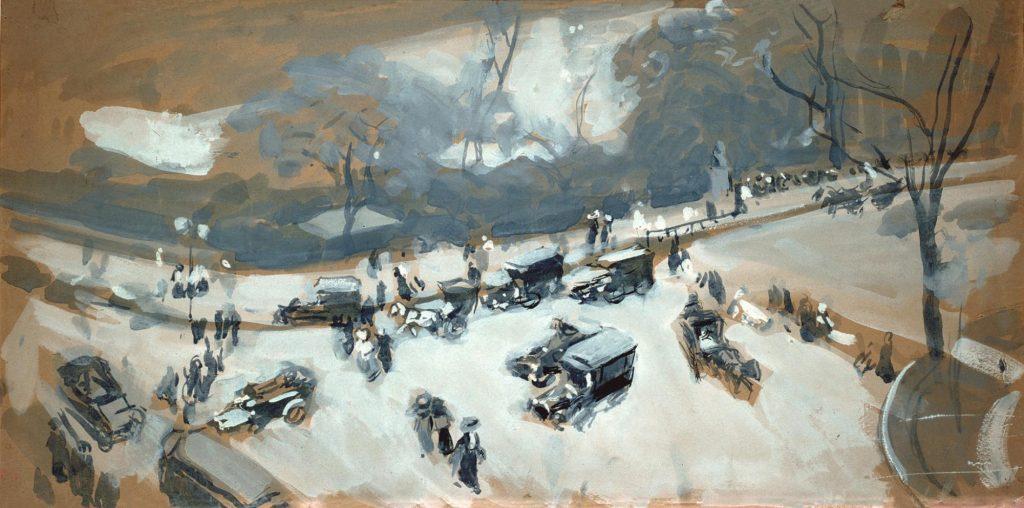 Joaquín Sorolla, Nieve en Central Park, Nueva York, 1911. Gouache sobre papel. Museo Sorolla, Madrid