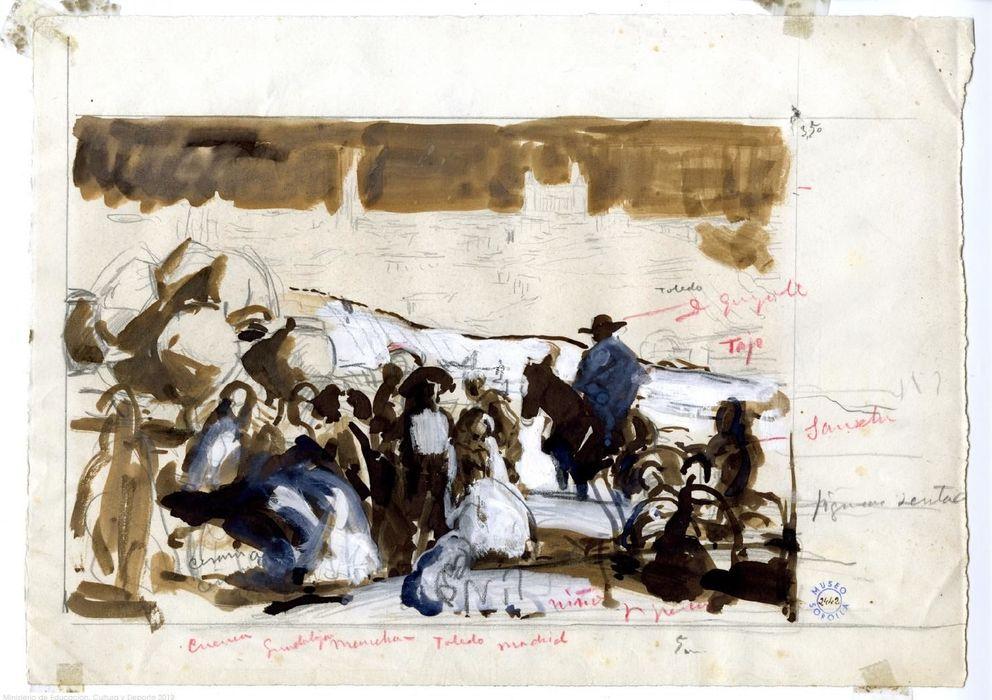 Joaquín Sorolla, Estudio de composición para Castilla. La fiesta del pan, c. 1912. Tinta, lápiz y gouache azul y blanco. Museo Sorolla, Madrid